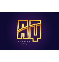 gold golden alphabet letter aq a q logo vector image