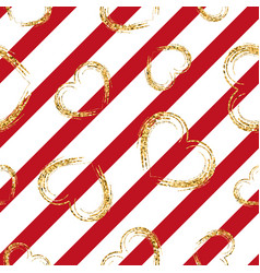 Gold heart seamless pattern red-pink geometric vector