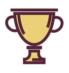 Golden cup award or trophy isolated icon vector