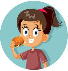 happy girl eating a hamburger cartoon vector image