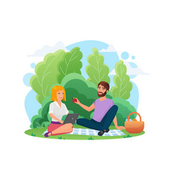 happy people couple dating in park picnic vector image