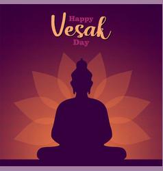 Happy vesak day card lotus flower and buddha vector