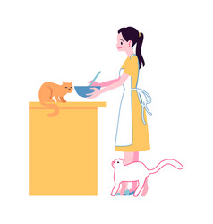 Happy woman cooking at kitchen with cats vector