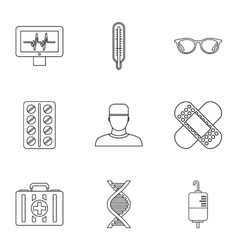 Healing icons set outline style vector image