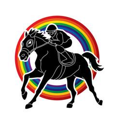 jockey riding horse hose racing vector image