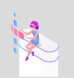 landing page girl in glasses for virtual reality vector image