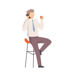 Male office worker talking on phone vector