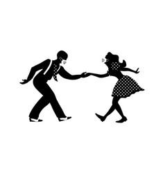 Man and woman dancing lindy hop with medical masks vector