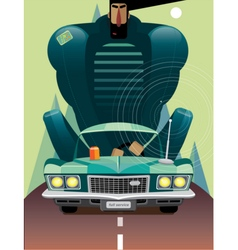 Man in retro car on the road vector