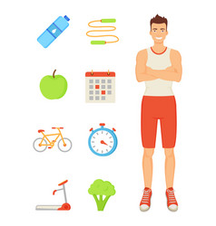 Man sportive person icons vector