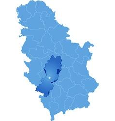 Map of Serbia Subdivision Raska District vector