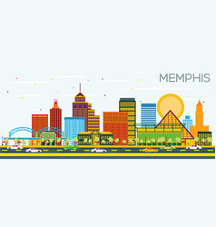 Memphis tennessee skyline with color buildings vector