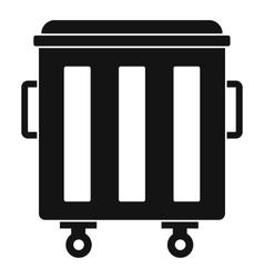 Metal trashcan icon simple style vector