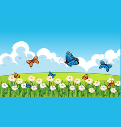 Nature scene background with butterflies flying vector