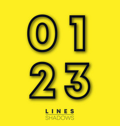 numbers linear design set number 0 1 2 3 vector image