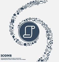 Paper scroll icon sign in the center Around the vector