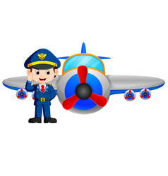 pilot and jet plane on white background vector image