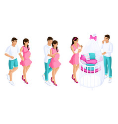 Quality isometrics set of couples during pregnancy vector