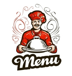 Restaurant menu logo cafe diner or chef vector