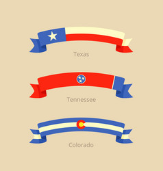 Ribbon with flag of texas tennessee and colorado vector