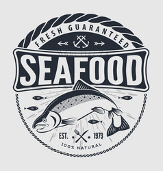 Seafood label or logo for seafood restaurant vector