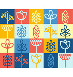 seamles background with flowers and seeds organic vector image