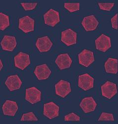 seamless colorful hand-drawn icosahedron pattern vector image