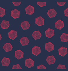 Seamless hand-drawn crosshatched icosahedron print vector