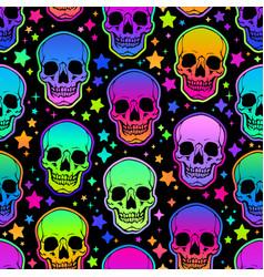 seamless of neon bright human skulls vector image