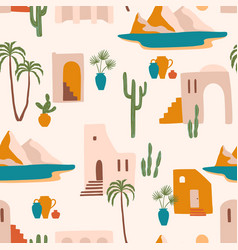 Seamless pattern with southern landscape vector