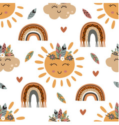 Seamless pattern with tribal sun cloud vector
