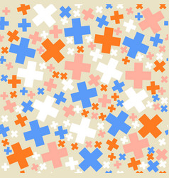 seamless retro geometric pattern with pluses vector image