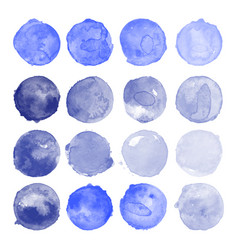 Set of watercolor indigo shapes vector