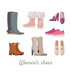Set of woman s shoes in flat design vector