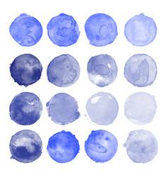 Set watercolor indigo shapes vector
