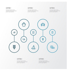 Shipment outline icons set collection of cargo vector