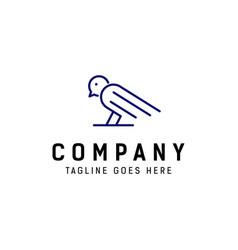 simple bird monoline logo vector image