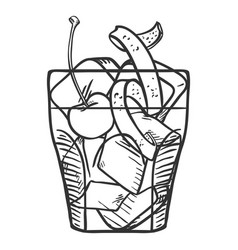 Sketch - old fashioned cocktail vector