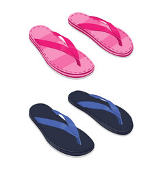 Slippers set female and male isolated on white vector