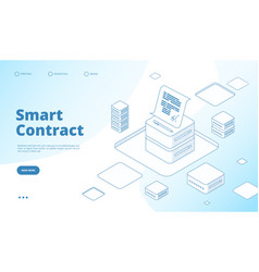 Smart contract concept ethereum cryptography vector