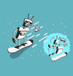 snowboard design with robot snowboarder vector image