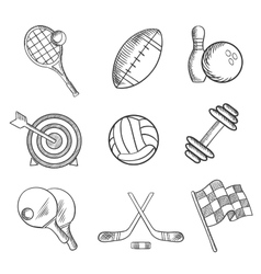 Sport icons and items in sketch style vector image