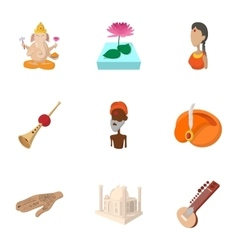 Stay in India icons set cartoon style vector image