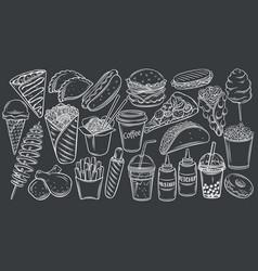 street food icons on black chalkboard vector image