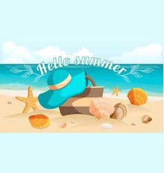 sunburst text hello summer vector image
