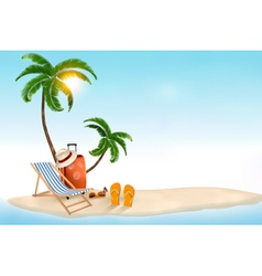 travel background with beach chair and palms vector image