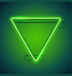 triangular green neon frame vector image