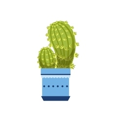 Two Cacti In Blue Pot vector image
