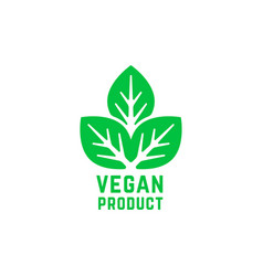 vegan product green logo isolated on white vector image
