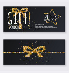 Voucher template with gold gift box certificate vector